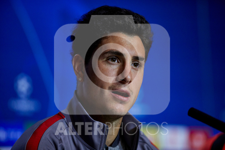 Jose Gimenez during the Press Conference before the UEFA Champions League match between Atletico de Madrid and Juventus at Wanda Metropolitano Stadium in Madrid, Spain. September 17, 2019. (ALTERPHOTOS/A. Perez Meca)
