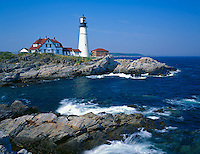 Cumberland County, ME<br /> Portland Head Lighthouse (1791) stands above the rocky coast at Cape Elizabeth on Casco Bay - Maine's oldest lighthouse