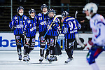 Uppsala 2013-11-13 Bandy Elitserien IK Sirius - IFK Kung&auml;lv :  <br /> Sirius Klas Nordstr&ouml;m (mitten) jublar med lagkamrater efter att ha gjort 4-3<br /> (Foto: Kenta J&ouml;nsson) Nyckelord:  jubel gl&auml;dje lycka glad happy