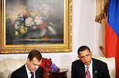 New York, NY - September 23, 2009 -- United States President Barack Obama holds a bilateral meeting with President Dmitri Medvedev of Russia at the Waldorf Astoria on Wednesday, September 23, 2009 in New York..Credit: Olivier Douliery - Pool via CNP