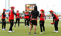 1st November 2019; Western Australia Cricket Association Ground, Perth, Western Australia, Australia; Womens Big Bash League Cricket, Perth Scorchers versus Melbourne Renegades; Melbourne Renegades players warm up with an Aussie Rules ball before the start of the match