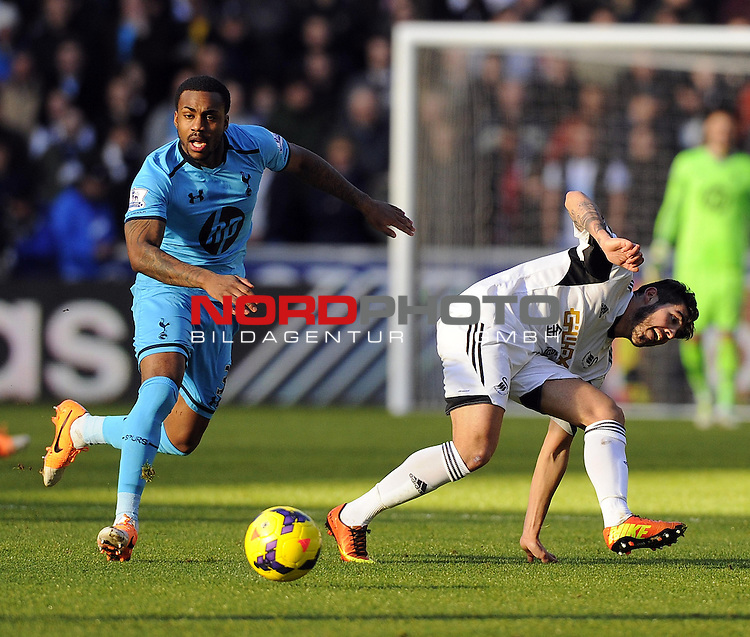 Tottenham Hotspur's Danny Rose tackles Swansea City's Alejandro Pozuelo -   19/01/2014 - SPORT - FOOTBALL - Liberty Stadium - Swansea - Swansea City v Tottenham Hotspur - Barclays Premier League<br /> Foto nph / Meredith<br /> <br /> ***** OUT OF UK *****