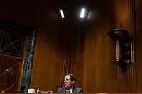 United States Senator Ron Wyden (Democrat of Oregon), Ranking Member, US Senate Committee on Finance, speaks during a US Senate Finance Committee hearing about the 2020 Filing Season and IRS COVID-19 Recovery at the U.S. Capitol in Washington DC on June 30th, 2020.<br /> Credit: Anna Moneymaker / Pool via CNP /MediaPunch