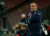 Napoli's coach  Maurizio Sarri during the  italian serie a soccer match,between SSC Napoli and Torino      at  the San  Paolo   stadium in Naples  Italy , January 07, 2016