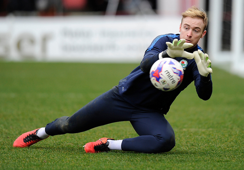 Blackburn Rovers' Jason Steele during the pre-match warm-up <br /> <br /> Photographer Ashley Western/CameraSport<br /> <br /> Football - The Football League Sky Bet Championship - Brentford v Blackburn Rovers - Saturday 19th March 2016 - Griffin Park - London <br /> <br /> &copy; CameraSport - 43 Linden Ave. Countesthorpe. Leicester. England. LE8 5PG - Tel: +44 (0) 116 277 4147 - admin@camerasport.com - www.camerasport.com