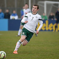 20150314 - GENDT , NETHERLANDS  : Northern Irish Shea Conaty pictured during the soccer match between Under 17 teams of  The Netherlands and Northern Ireland , on the second matchday in group 3 of the UEFA Elite Round Under 17 at De Bataven Stadion , Gendt , The Netherlands . Saturday  14 th March 2015 . PHOTO DAVID CATRY