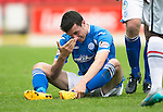 St Johnstone v Inverness Caley Thistle...08.08.15...SPFL..McDiarmid Park, Perth.<br /> Joe Shaughnessy recovers from Ryan Christie's elbow<br /> Picture by Graeme Hart.<br /> Copyright Perthshire Picture Agency<br /> Tel: 01738 623350  Mobile: 07990 594431
