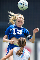 NWA Democrat-Gazette/CHARLIE KAIJO Rogers High School midfielder Chelsea Arrick (19) heads the ball during the semifinals of the 7A Girls State Soccer Tournament, Saturday, May 12, 2018 at Whitey Smith Stadium at Rogers High School in Rogers. Rogers advanced to the finals when midfielder Skylurr Patrick (3) scored both of Rogers' goals defeating Southside High School, 2-1.