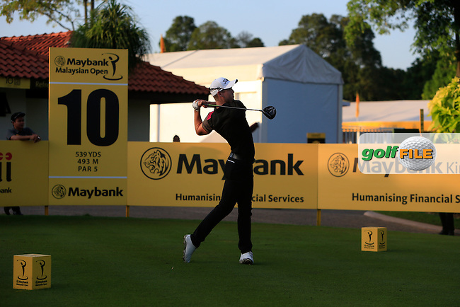 Nathan Holman (AUS) on the 10th tee during Round 4 of the Maybank Malaysian Open at the Kuala Lumpur Golf &amp; Country Club on Sunday 8th February 2015.<br /> Picture:  Thos Caffrey / www.golffile.ie