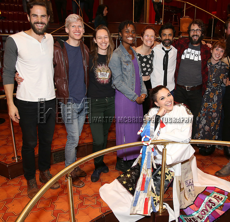 Katrina Yaukey with Nicholas Belton, Lucas Steele, Gelsey Bell, Denee Benton, Nick Choksi, Josh Groban, Brittain Ashford and cast during the Broadway Opening Night Actors' Equity Gypsy Robe Ceremony honoring Katrina Yaukey  for  'Natasha, Pierre & The Great Comet Of 1812' at The Imperial Theatre on November 14, 2016 in New York City.