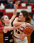 Civic Memorial guard Maura Niemeier (left) tries to strip the ball from Highland forward Bella LaPorta. Highland played Civic Memorial in the Class 3A Effingham sectional championship game at Effingham High School in Effingham, Illinois on Thursday February 27, 2020. <br /> Tim Vizer/Special to STLhighschoolsports.com