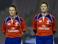 Referee Helen O'Reilly and assisstant referee Sarah Linéa Toll during the anthems, England Women v Scotland Women in the 6 Nations at Northern Echo Arena, Darlington, England, on 13th March 2015