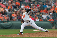 Oregon State Beavers relief pitcher Mitchell Verburg (32) delivers a pitch during a game against the New Mexico Lobos on February 15, 2019 at Surprise Stadium in Surprise, Arizona. Oregon State defeated New Mexico 6-5. (Zachary Lucy/Four Seam Images)