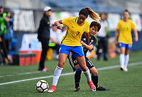 Seattle, WA - Thursday July 27, 2017: Gabi Nunes, Yuka Momiki during a 2017 Tournament of Nations match between the women's national teams of the Japan (JAP) and Brazil (BRA) at CenturyLink Field.