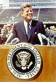 "United States President John F. Kennedy speaks before a crowd of 35,000 people at the Rice University football field in Houston, Texas on September 12, 1962.  The following are excerpts from his speech. "" ...We set sail on this new sea [space] because there is a new knowledge to be gained, and new rights to be won, and they must be won and used for the progress of all people. ...Whether it will become a force for good or ill depends on man, and only if the United States occupies a position of pre-eminence can we help decide whether this new ocean will be a sea of peace or a new terrifying theater of war. But I do say space can be explored and mastered without feeding the fires of war, without repeating the mistakes that man has made with extending his writ around this globe of ours. ...There is no strife, no prejudice, no national conflict in outer space as yet. Its conquest deserves the best of all mankind, and its opportunity for peaceful cooperation may never come again. But why, some say the Moon? Why choose this as our goal? And they may well ask, why climb the highest mountian? Why - 35 years ago - why fly the Atlantic? Why does Rice play Texas? We choose to go to the Moon, we choose to go to the Moon in this decade and do the other things, not because they are easy, but because they are hard, because that goal will serve to organize and measure the best of our energies and skills, because that challenge is one that we are willing to accept, one we are unwilling to postpone, and one in which we intend to win, and the others too..Credit: NASA via CNP"