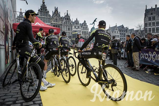 Team Mitchelton Scott awaiting the pre race team presentation of the 103rd Ronde van Vlaanderen 2019<br /> One day race from Antwerp to Oudenaarde (BEL/270km)<br /> <br /> ©kramon