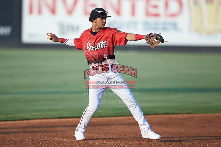 Shortstop Anderson Tejeda (9) of the Down East Wood Ducks during the 2018 Carolina League All-Star Classic at Five County Stadium on June 19, 2018 in Zebulon, North Carolina. The South All-Stars defeated the North All-Stars 7-6.  (Brian Westerholt/Four Seam Images)