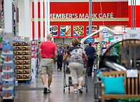 NWA Democrat-Gazette/JASON IVESTER<br /> Shoppers walk the aisles Tuesday, April 18, 2017, at Sam's Club in Bentonville. Sam's Club is expanding private label of Member's Mark items.