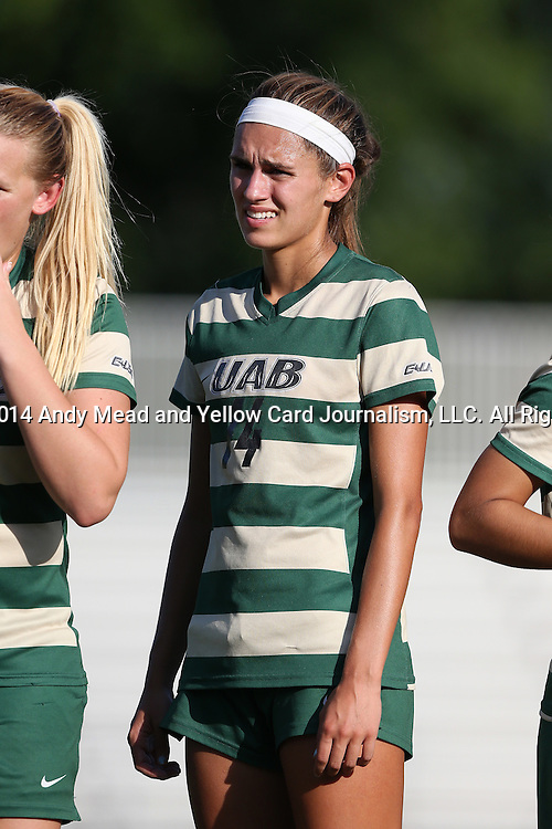 31 August 2014: UAB's Mary Catherine Combs. The Duke University Blue Devils hosted the University of Alabama Birmingham Blazers at Koskinen Stadium in Durham, North Carolina in a 2014 NCAA Division I Women's Soccer match. Duke won the game 3-1.