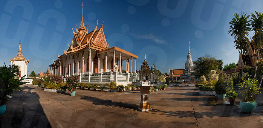 Jan. 25, 2010 - Phnom Penh, Cambodia. Silver Pagoda in the Royal Palace. Panoramic stitch. © Nicolas Axelrod / Ruom