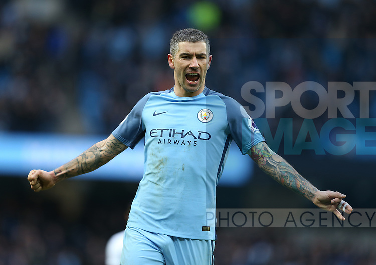 Aleksander Kolarov of Manchester City celebrates the win during the English Premier League match at Etihad Stadium, Manchester. Picture date: February 5th 2017. Pic credit should read: Simon Bellis/Sportimage