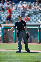 Umpire Brett Terry handles the calls behind the plate during the game between the Salt Lake Bees and the Albuquerque Isotopes at Smith's Ballpark on April 22, 2018 in Salt Lake City, Utah. The Bees defeated the Isotopes 11-9. (Stephen Smith/Four Seam Images)