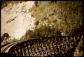 RGS Butterfly trestle as seen from the platform of business car B-20 &quot;Edna&quot; on the southbound RMRRC excursion of 1951.<br /> RGS  Butterfly, CO  Taken by Pfeiffer, Jack A. - 9/2/1951