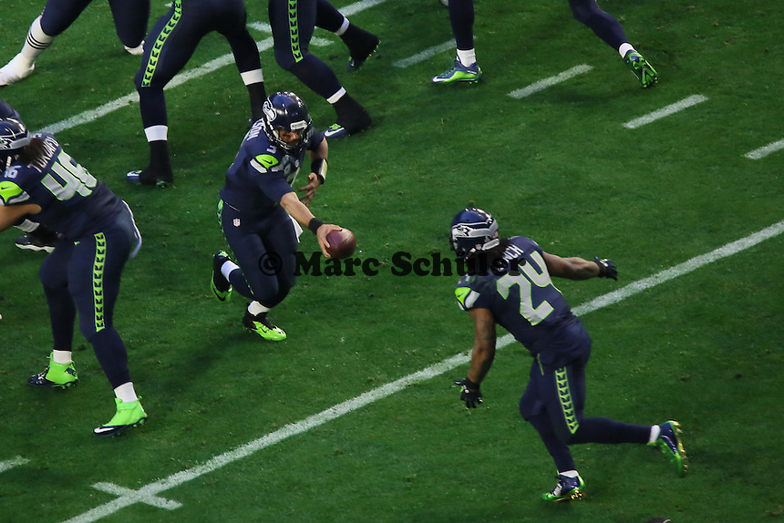 QB Russell Wilson und RB Marshawn Lynch (Seahawks) - Super Bowl XLIX, Seattle Seahawks vs. New England Patriots, University of Phoenix Stadium, Phoenix