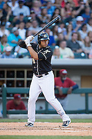 Matt Tuiasosopo (18) of the Charlotte Knights at bat against the Lehigh Valley IronPigs at BB&T BallPark on May 30, 2015 in Charlotte, North Carolina.  The IronPigs defeated the Knights 1-0.  (Brian Westerholt/Four Seam Images)