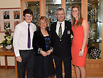 Captain of Seapoint Golf Club Dan Reynolds pictured with his wife paula, son Ben and daughter Carla at the Captains dinner. Photo:Colin Bell/pressphotos.ie