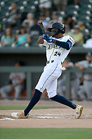 Center fielder Jose Medina (24) of the Columbia Fireflies bats in a game against the Rome Braves on Saturday, August 17, 2019, at Segra Park in Columbia, South Carolina. Rome won, 4-0. (Tom Priddy/Four Seam Images)