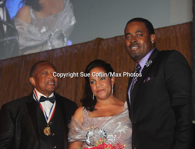 As The World Turns' Lamman Rucker is Master of Ceremonies at the 7th Annual Spirit of the Heart Awards - Dinner for the Association of Black Cardiologists honoring Felipe C. Robinson, MD poshumously and accepting the award is his daughter Erron Ali-Amin on October 1, 2016 at Cipriani 42nd Street, New York City, New York. (Photo by Sue Coflin/Max Photos)