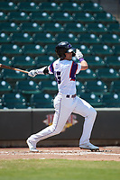 Mitch Roman (16) of the Winston-Salem Rayados follows through on his swing against the Lynchburg Hillcats at BB&T Ballpark on June 23, 2019 in Winston-Salem, North Carolina. The Hillcats defeated the Rayados 12-9 in 11 innings. (Brian Westerholt/Four Seam Images)