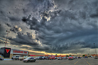 Storm clouds over Canadian Tire parking lot at Lambton Mall