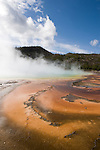 Steam rising from the Grand Prismatic Spring in Yellowstone National Park, Wyoming.