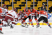 Brian McCafferty (Harvard - 20), Ryan Maki (Harvard - 7), Dylan Reese (Harvard - 2), Yale Lewis (NU - 20), ?, Randy Guzior (NU - 13) - The Northeastern University Huskies defeated the Harvard University Crimson 3-1 in the Beanpot consolation game on Monday, February 12, 2007, at TD Banknorth Garden in Boston, Massachusetts.