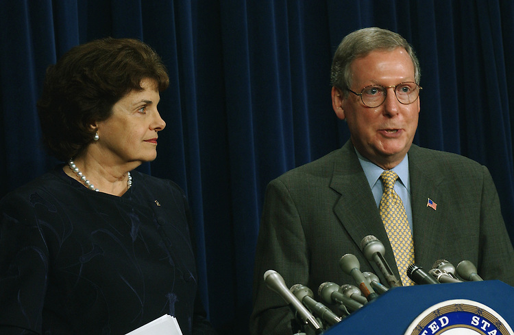4/18/02.MIDDLE EAST CRISIS--Sen. Dianne Feinstein, D-Calif., and Sen. Mitch McConnell, R-Ky., during a news conference on the crisis in the Middle East, and their views on Senate action..CONGRESSIONAL QUARTERLY PHOTO BY SCOTT J. FERRELL
