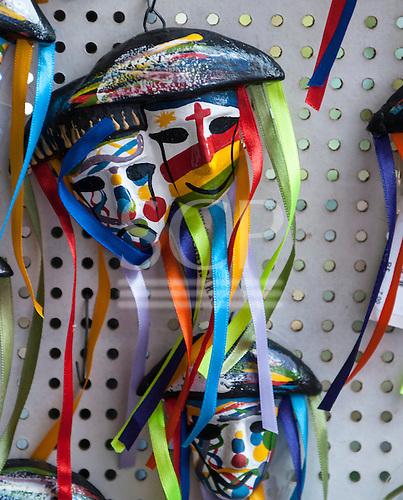 Olinda, Pernambuco State, Brazil. Carnival masks brooches.