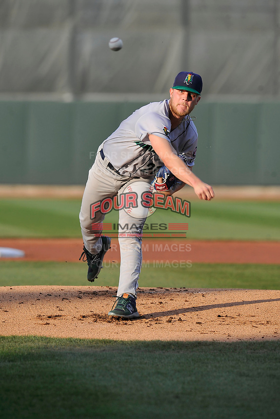 Cedar Rapids Kernels starting pitcher Blayne Enlow (20) throws a pitch against the Quad Cities River Bandits at Veterans Memorial Stadium on April 16, 2019 in Cedar Rapids, Iowa.  The Kernels won 11-2.  (Dennis Hubbard/Four Seam Images)