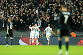 1st November 2017, Wembley Stadium, London, England; UEFA Champions League, Tottenham Hotspur versus Real Madrid; Harry Kane of Tottenham Hotspur celebrates with Dele Alli and Christian Eriksen as they go 3-0 up