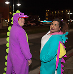 Eric and Celia during the Onesie Crawl held on Saturday night, Nov. 18, 2017 in downtown Reno.