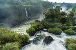 Iguazu Falls National Park in Brazil in the foreground and Argentina across the Iguazu River.  A UNESCO World Heritage Site.