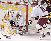 Joe Pearce, Tim Kunes - The Boston College Eagles and Ferris State Bulldogs tied at 3 in the opening game of the Denver Cup on Friday, December 30, 2005, at Magness Arena in Denver, Colorado.  Boston College won the shootout to determine which team would advance to the Final.