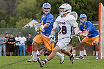Los Angeles, CA 04/02/10 - Chase Parlett (LMU #28) and Kenny Smith (UCSB #4) in action during the UCSB-LMU MCLA SLC conference lacrosse game at Loyola Marymount University.