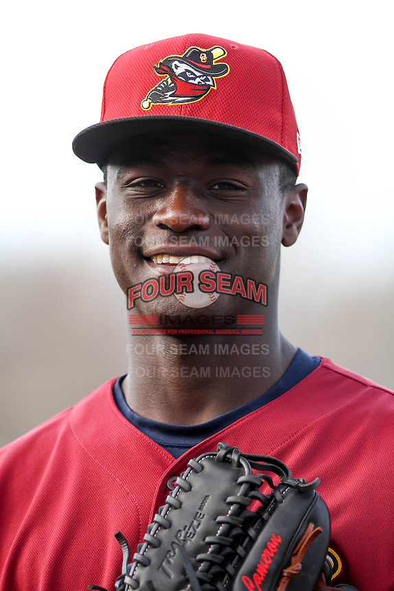 Quad Cities River Bandits outfielder Daz Cameron (10) poses for a photo prior to a Midwest League game against the Wisconsin Timber Rattlers on April 20, 2016 at Fox Cities Stadium in Appleton, Wisconsin.  Quad Cities defeated Wisconsin 5-2. (Brad Krause/Four Seam Images)