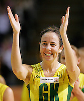 24.07.2007 Australian captain Liz Ellis celebrates after the Silver Ferns v Australia second netball test in Adelaide, Australia. Mandatory Photo Credit ©Michael Bradley. **$150 + GST USAGE FEE DOES APPLY**
