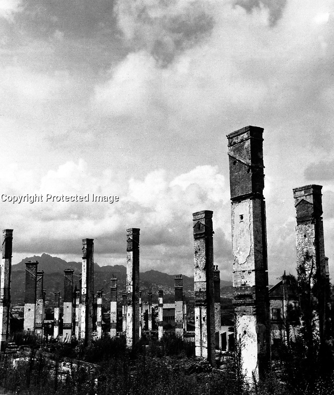 General view of buildings in the suburbs of Seoul, Korea, destroyed by artillery and air strikes.  August 20, 1951.  G. Dimitri Boria. (Army)<br /> NARA FILE #:  111-SC-386809<br /> WAR &amp; CONFLICT BOOK #:  1505