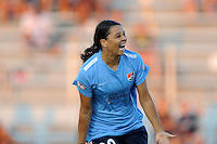 Boyds, MD - Saturday June 25, 2016: Samantha Kerr celebrates scoring prior to a United States National Women's Soccer League (NWSL) match between the Washington Spirit and Sky Blue FC at Maureen Hendricks Field, Maryland SoccerPlex.