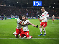 10th March 2020, Red Bull Arena, Leipzig, Germany; EUFA Champions League, RB Leipzig v Tottenham Hotspur; Celebrations from Nordi Mukiele with goal scorer Marcel Sabitzer RB Leipzig and Timo Werner RB Leipzig for 2-0 with a diving header