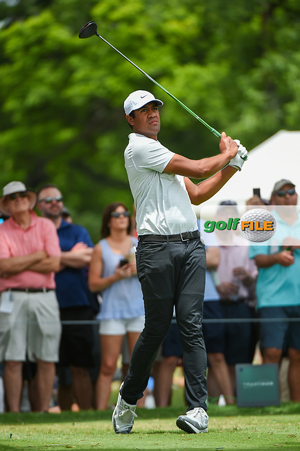 Tony Finau (USA) watches his tee shot on 3 during round 3 of the 2019 Charles Schwab Challenge, Colonial Country Club, Ft. Worth, Texas,  USA. 5/25/2019.<br /> Picture: Golffile | Ken Murray<br /> <br /> All photo usage must carry mandatory copyright credit (© Golffile | Ken Murray)